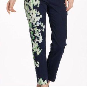 Anthropologie Cartonnier Navy Floral Print Pants